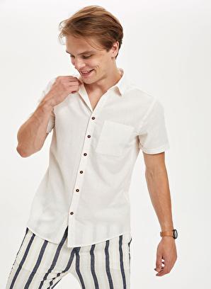 DeFacto Kısa Kollu Slim Fit Basic Pamuklu Gömlek